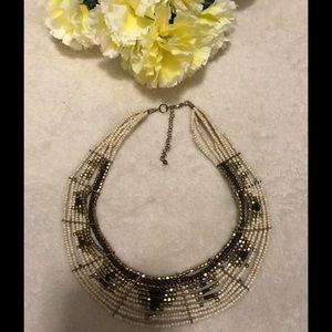 Beaded multi-strain necklace